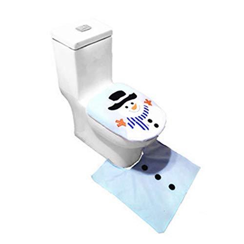 Riotis 3 Stücke Cartoon Swonman Elch Muster Weihnachten Toilettensitzabdeckung Set Dekoration Aufkleber für Toilettendeckel