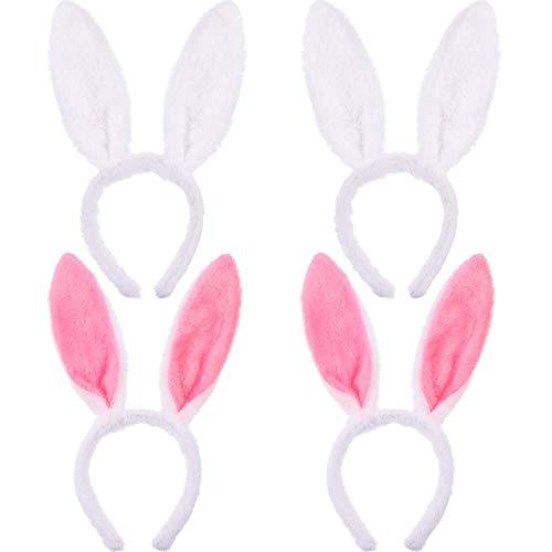 Hasen Haarreif 4 stücke Plüsch Hase Ohren Haarbänder Rosa und weiß für Hochzeit Party Cosplay Kostüm (Weiße Hasen Kostüm Für Hunde)