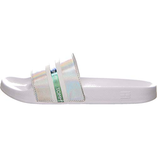 Tommy Hilfiger Damen Pool Slide Shiny Iridescent Pantoletten Größe 36 EU Silber (Silber) - Damen Pool
