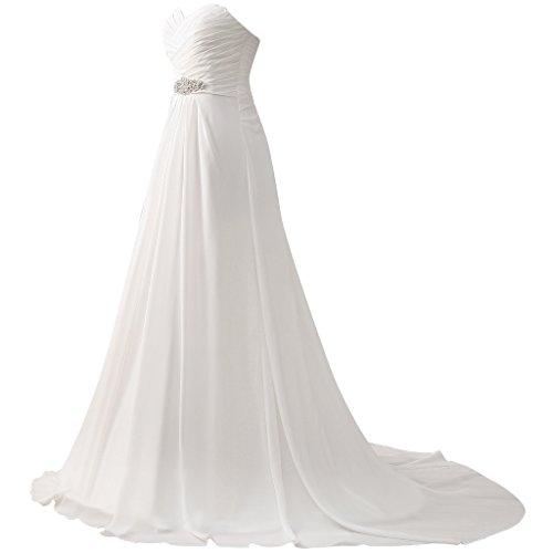 JAEDEN Donne Senza spalline Chiffon Abiti da sposa Lungo linea ad a Vestito da cerimonia Avorio