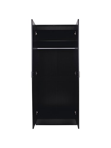 2 Door Double Wardrobe in Black High Gloss & Oak Frame