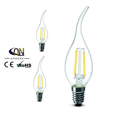 3 piezas ONDENN E14 2W 2 COB 200 LM Blanco Cálido CA35 edison Cosecha Bombillas de Filamento LED AC 100-240 V , 220-240v