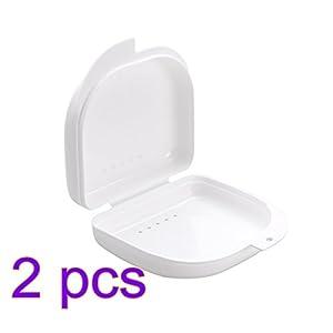 ULTNICE 2 Stücke Zahnspangen Box Prothesendose für Aufbissschiene Knirscherschiene (weiß)
