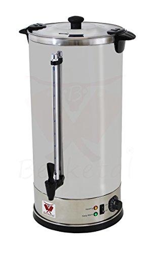 Beeketal 'BGWK20' Gastro Glühweinkocher 20 Liter Volumen mit Füllstandskala, Zapfhahn und stufenlos regelbarem Thermostat (30-110 °C), Profi Edelstahl Wasserkocher mit 2800 Watt Leistung
