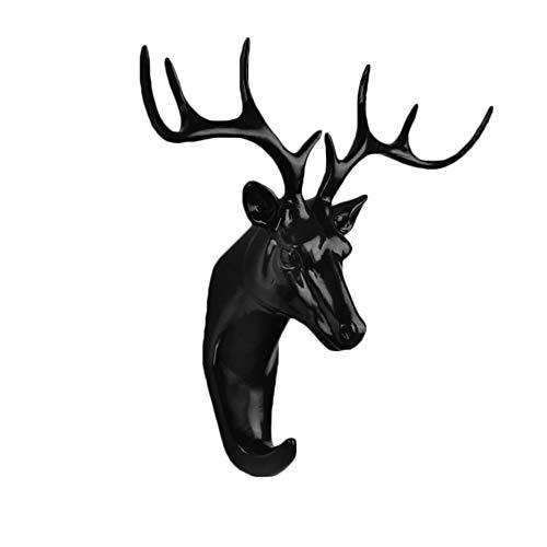 Montiert Tier (Vikenner Tier Haken Wandhaken aus Harz zum Montiert Schrauben Mantelhaken Vintage für Bad Küche Huthaken Garderoben Haken Wand Schwarz Hirsch)