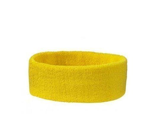 Stirnband Headband Kopfband Knitband Schweißband schwarz rot weiß Stirnbänder Tennis Squash Badminton Fitness (Gelb)