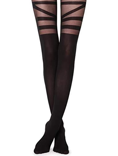 Calzedonia Damen Strumpfhose mit Overknee-Effekt und Überkreuzdetail