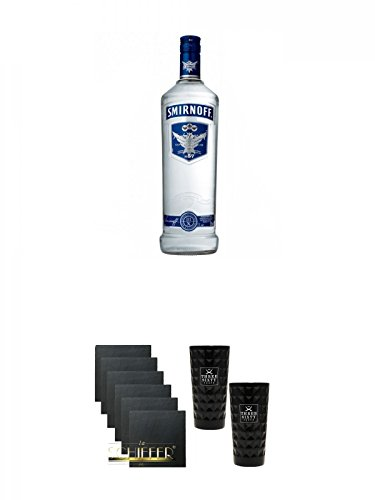 Smirnoff Vodka Blue Label 1,0 Liter + Schiefer Glasuntersetzer eckig 6 x ca. 9,5 cm Durchmesser + Three Sixty black Vodka Glas 2 Stück (black) (Liter 1 Label Blue)
