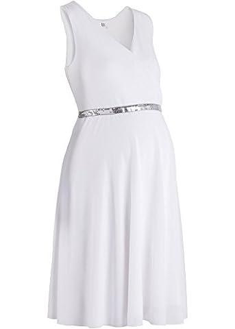 festliches Umstandskleid, Stillkleid, Kleid für Schwangere, Hochzeitskleid weiß (44/46)