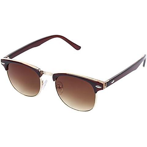 OUTEYE Unisex Retro Frame Vintage Gafas de sol (Tan)