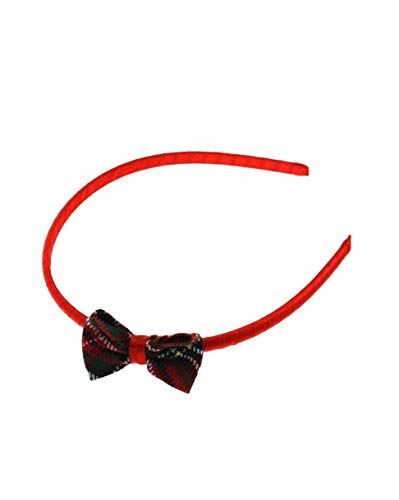 ZAC de Alter Ego® Tartan Bow sur rouge satiné Alice Band