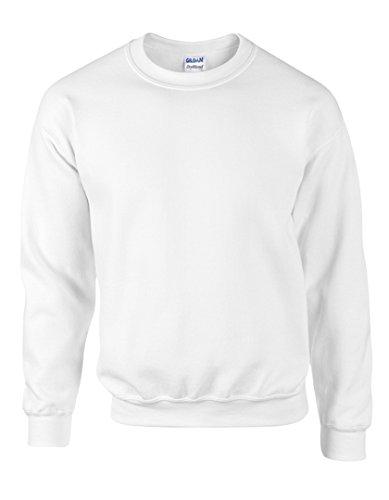 Gildan Heavy Blend Pullover mit Rundausschnitt (M) (Weiß) M,Weiß (Weißer Pullover)