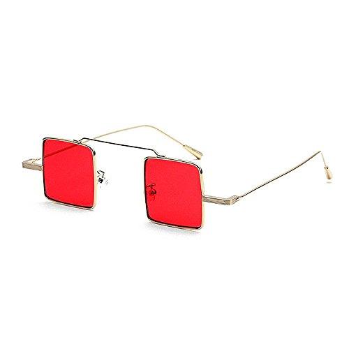 Yiph-Sunglass Sonnenbrillen Mode Damen-Sonnenbrille Kleine quadratische Linse für Unisex-Metall gerahmt Sonnenbrille Retro Persönlichkeit umrandet stilvoll für das Fahren von UV-Schutz (Farbe : Rot)