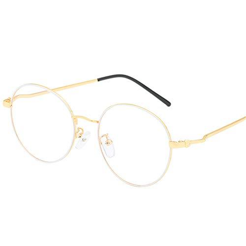 Y-PLAND Brille weibliche kompakte runde flache Spiegel ultraleichte Metall Brillengestell Teegläser, Weißgoldrahmen