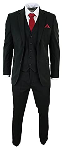 Mens Tailored Fit Black 3 Piece Stripe Suit Short Regular
