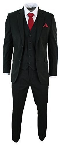 Voeut Mens Tailored Fit Black 3 Piece Stripe Suit Short Regular Long Smart Formal - Black-Regular, 42UK/US & 52EU-Jacket, 36-Pants