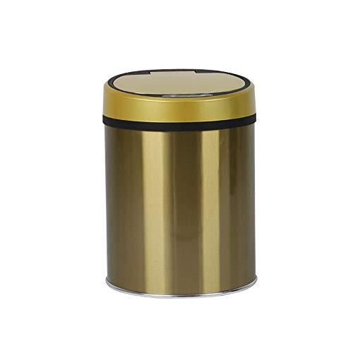 Dapang USB Edelstahl Automatische Mülleimer, Breite Öffnung Sensor Kitchen Trash Bin, Stromversorgung über USB (Geschenk) für Wohnzimmer Küche Badezimmer Büro,Gold,8l -