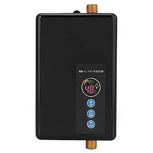 Mini calentador de agua, 5500 W Calentador de agua instantáneo eléctrico Calefacción rápida Sin tanque Ducha Sistema de agua caliente para baño Cocina Lavado 220 V (rojo)