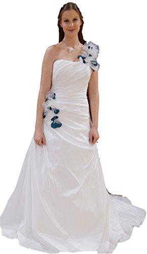 Brautkleid (LKBlütenträger) aus Taft, schlichter schmaler Schnitt, einseitiger Träger mit blauen...