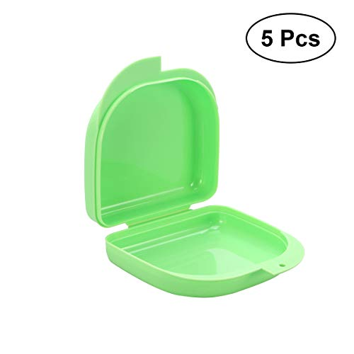 ROSENICE 5 stücke Prothesendose Zahnspangen Ultraflache Box für Aufbissschiene Knirscherschiene (grün)