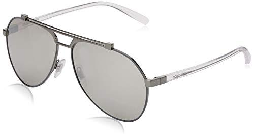 Dolce & gabbana 0dg2189 04/6g 61 occhiali da sole, grigio (matte gunmetal/gunmtal/lightgreymirrorsilver), uomo