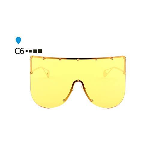 ZHENCHENYZ Vintage Shades für Frauen Männer Übergroße Shield Sonnenbrille Markendesigner Große Randlose Visierspiegel Sonnenbrille