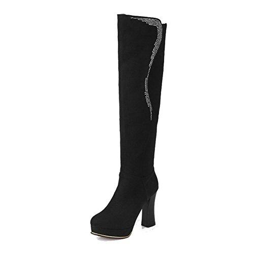 AgooLar Damen Eingelegt Hoher Absatz Rund Zehe Reißverschluss Stiefel mit Beschlagene Strass, Weiß, 38