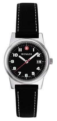 Wenger 70385–Reloj de pulsera de mujer, correa de piel color negro