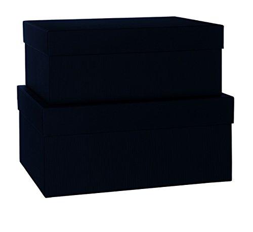 Rössler 1345453700 Lot de 2 boîtes de rangement Boxle rectangulaires en carton de différentes tailles (Noir)