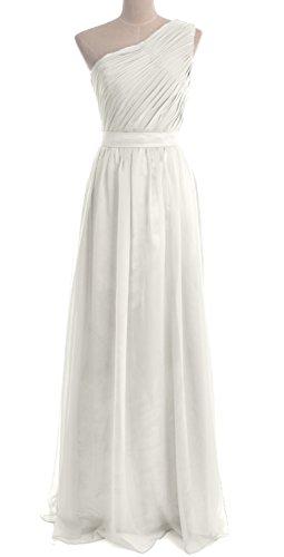 MACloth Women One Shoulder Chiffon Long Bridesmaid Dress Wedding Party Gown Elfenbein