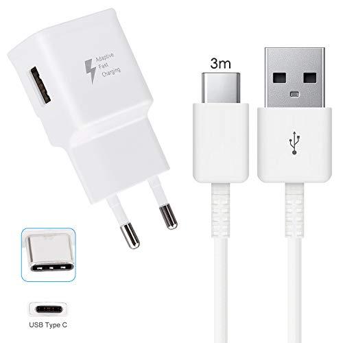 Cargador de carga rápida Tipo C para Xiaomi Pocophone F1, Mi A2, Mi 5/8/9 Pro Mix 3 A1 Note 2 Note 3, Samsung S10 S9 S8 Plus Note 8 9 A8 A9 A3 A5 A7 Huawei P20 Moto G6 (con cable de 3 metro, Blanco)