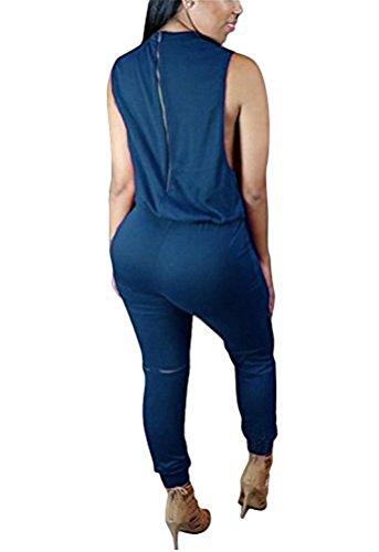 Brinny Femme sans manches Combinaison Pantalon genou trou Bodycon Clubwear Playsuit Salopettes loose Pants Drawstring Zippé Taille: S-XL Bleu Foncé