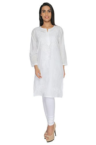 BDS Chikan pure Cotton Base White Colour kurti For Woman White Thread...