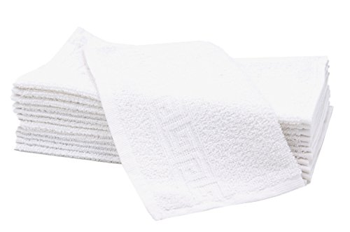 Zollner 12er Set Gästehandtücher Seiftücher aus Baumwolle, weiß (weitere verfügbar), ca. 30x30 cm, Serie Korfu