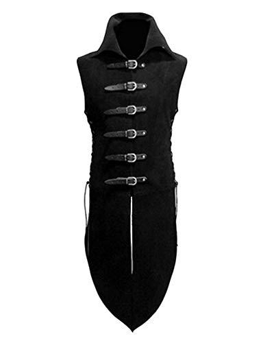 LiangZhu Herren Steampunk Renaissance Schnalle Aus Leder Stehkragen Jacke Neutral Spitze Cosplay Uniform Schwarz XL