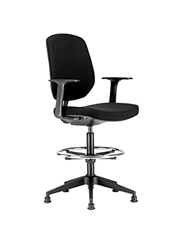 Chairs For Offices HI131104BK High Seat Draughtsman Workbench Counter Chair with Arms Black Free 3 day Delivery