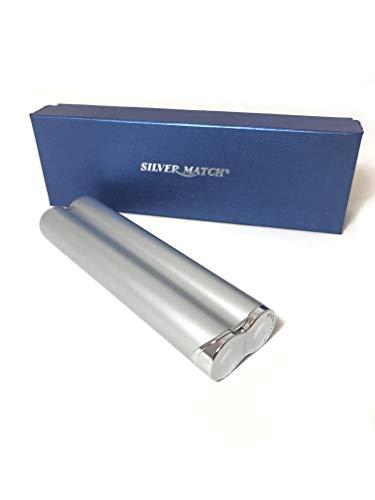 Zwei Laserjet (Silver Match Cigar Club Silber Zigarren-Etui mit integriertem Turbo-Feuerzeug Laser Jet Flame Gas Flame 2 Zigarren Tube)