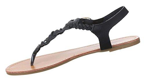 bc0c32620c633 Damen Sandalen Schuhe Dianetten Zehentrenner Damenschuhe Schwarz ...