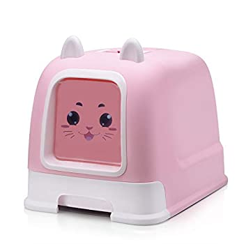 Ayy Entièrement fermé tiroir Chat litière Chat Oreilles litière boîte à litière pour Animaux de Compagnie Bol respectueux de l'environnement PP avec tiroir Chat Toilettes,Pink