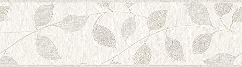 awallo selbstklebende Bordüre floral jung 5,00 m x 0,17 m grau metallic weiß Made in Germany...