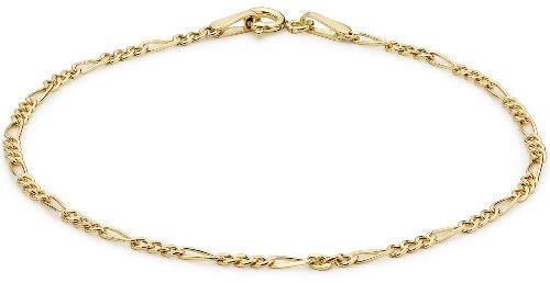 Carissima Gold Women's 9 ct Yellow Gold Semi Hollow Figaro Bracelet of Length 18 cm