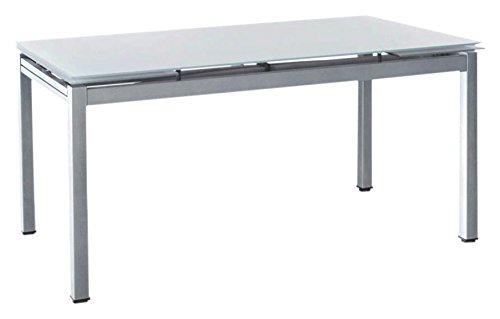 Cribel maxi tecno tavolo, metallo satinato, vetro temperato, bianco