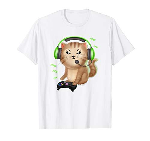 Gaming Katze Zocker Katzenfreund T-Shirt zocken Geschenk