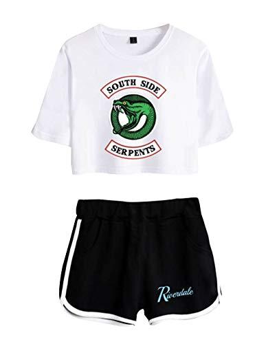 Riverdale Tops und Hosen Damen, Teenager Mädchen Mode Southside Serpents T-Shirts und Shorts Sommer Crop Tops Anzug Bauchfrei Oberteile Sport Kurze Tank Top Frauen Kurzarm Blusen T-Shirt Hemd (4, S)