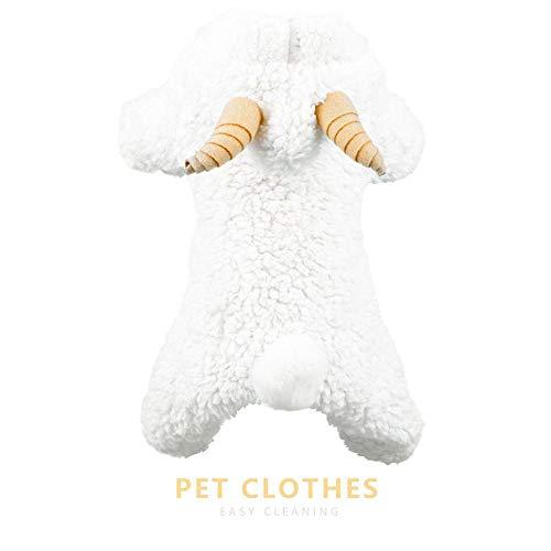Pet Dress Up Disfraces de ovejas para Perro con artículos para Mascotas Ropa de otoño e Invierno Cachorro de algodón Fiesta de Navidad de Halloween Vestido de Oveja Blanco para Sudaderas con