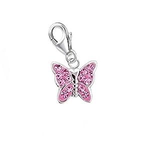 GH* KIDS Mini Rosa Kristall Schmetterling Charm Anhänger 925 Echt Sterling Silber Mädchen Kinder Damen Baby