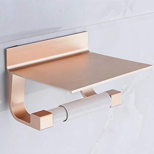 TOILETHERO Toilettenpapierhalter für Toilettenpapierhalter aus Aluminium, Multifunktionshaken, Badezimmer-Regale mit Aschenbecher, Handtuchablage, Telefonhalter Gold