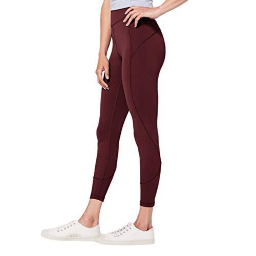Gamaschen Solid Basic Dünn Skinny Stretch Sport Hose Yoga Stoffhose High Waist Sweathose Casual Workout Jogginghose Trousers (M,Wein Rot) ()
