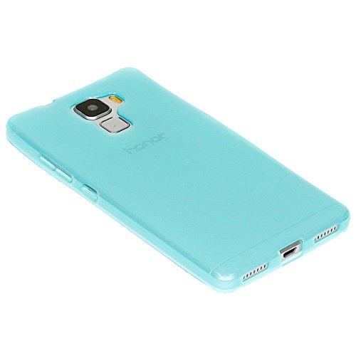Huawei Honor 7 Hülle Handyhülle von NICA, Ultra-Slim Silikon Case, Dünne Crystal Schutzhülle, Etui Handy-Tasche Back-Cover Bumper, softe TPU Gummihülle für Honor-7 Smart-Phone - Schwarz Transparent / Türkis