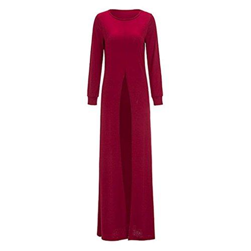 YMYY-Kleider Donna Anteriore Aprire la Forcella in Alto Casual Tunica Vestito Lunga Bluse Camicie T-Shirt Top Maglie a Manica Lunga Abiti Maxi Abito con Vino rosso